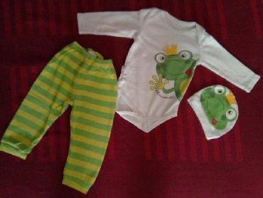 Za decu | Kragujevac: Za bebu dečaka 74 veličina.Trodelni komplet žaba 300 din.Trenerka od