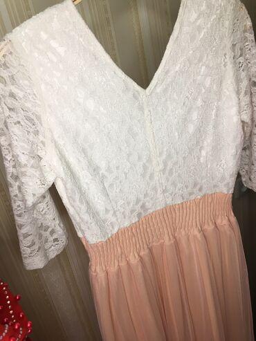 гипюр платье в Кыргызстан: Платье в хорошем состоянии.  Нежно розового цвета, верх белый гипюр. Н