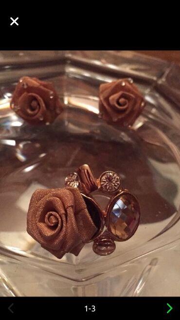 Üzük ilə sırğalar  Кольцо и серьги в форме цветка из золотистой сеточ