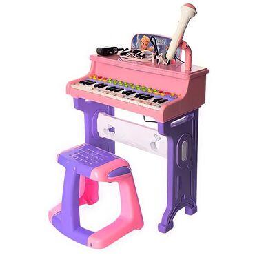 гибкое пианино в Кыргызстан: Детское пианино-синтезатор со стульчиком FrozenЯркая цветовая гамма