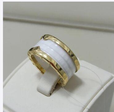 Кольцо булгари из золота - вставка белая керамика
