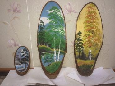 аукцион картин в Кыргызстан: Картины с уральским хрусталем. Нарисованные на коре дерева. Картина