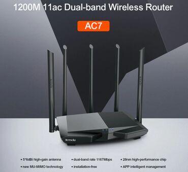 2570 - Azərbaycan: Tenda ac7 router wi-fi modem ac12005 antena. 3 lan port.Heyet evlerine