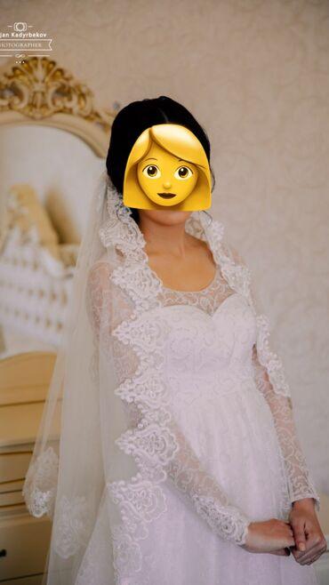 Свадебные платья и аксессуары - Кыргызстан: Продаю свадебное платье. Была в положении на 6м месяце, сшили специаль