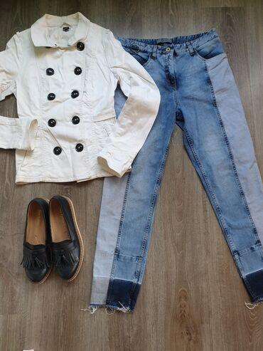 H&M jaknica od pamuka, kao teksas. Bela boja. Stanje kao na slici