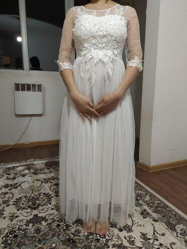 Нежное белое платье на кыз узатуу. Производство Турции. Состояние