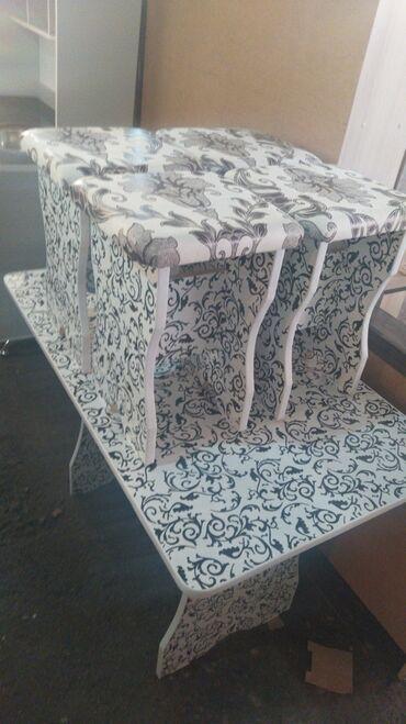 Новые кухонные столы с 4 табуретками. 3500 сом доставка по городу