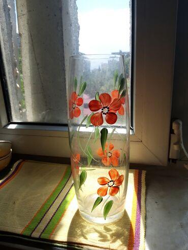 Ваза стекло РУЧНАЯ РОСПИСЬсоветское стеклопродам в бишкекепродам