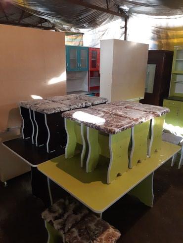 Стол с 6 табуретками новые!!! если что в Бишкек