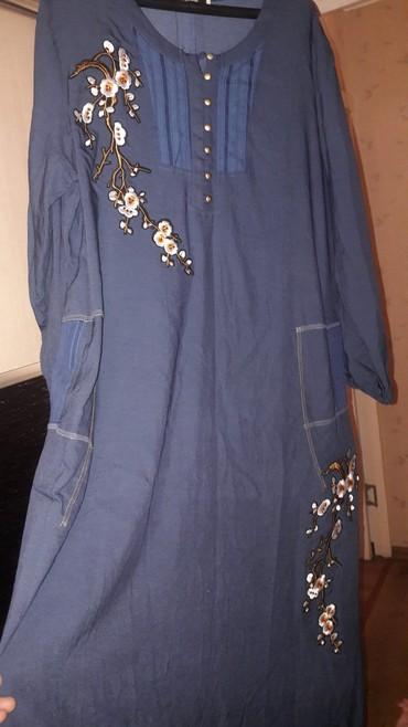 летнее платье 54 размера в Кыргызстан: Летнее синее платье 54 размера, длина макси Турция брали за 2500, не