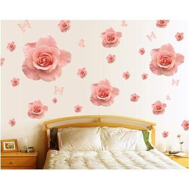 Veliki PVC stiker sa 13 pupoljaka ruže i 4 leptirića1200