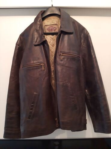 Muska kozna jakna - Srbija: Muska kozna jakna Coton braon boje velicina L malo postavljena,slike