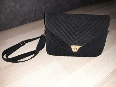 Crna plišana torbica, za sve prilike, skoro nova, sa dve pregrade ... - Nis