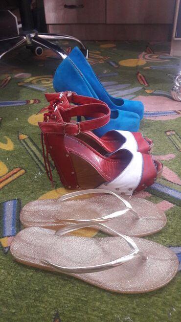 Все 3 пары за 500 сом, б/у 37р. туфли замшевые, красные босоножки из