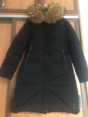 Пуховик чёрного цвета 46 размера почти новый одевали 2-3 раза с