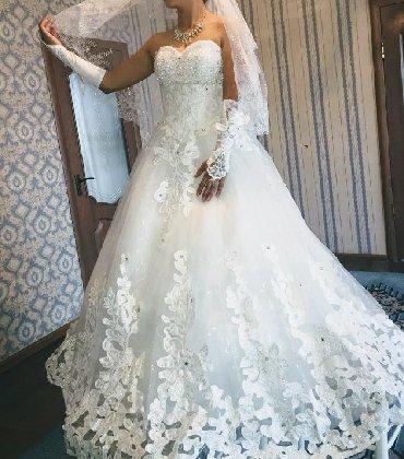 свадебное платье напрокат в Кыргызстан: Продается свадебное платье+фата,перчатки, аксессуары, одевалась один