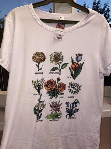 aveo t в Кыргызстан: Новая красивая белая футболка с цветами Размер: стандарт  Очень при