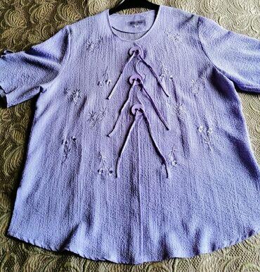 Женская летняя кофта, цвет нежно лиловый, размер 60, длина спереди =