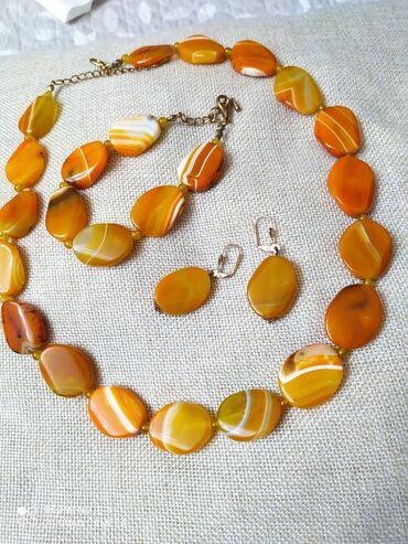 Бусы агат, натуральные камни, очень красивые, оранжевый агат в