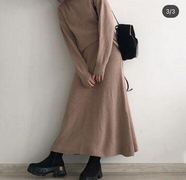 Базовая бежевая двоечка. Кофта/юбка. Одежда из Турции! Качество шикарн