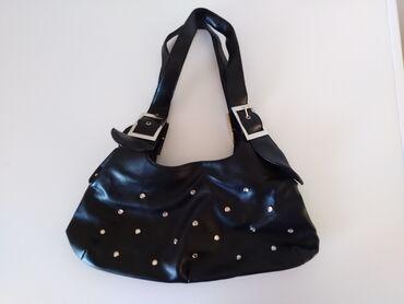 Torba sirina cm - Srbija: Crna torbica sa cirkonima 100d Sirina 37 cm Duzina 18 cm