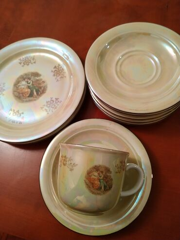 Farfordan madonna çay dəsti, Almaniyadan alınıb, 1fincan, 6 nəlbəki, 2