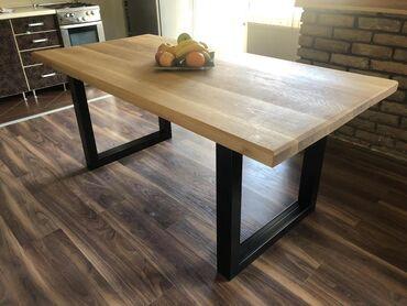 Trpezarijski sto u industrijskom stilu. Postolje stola izradjeno od