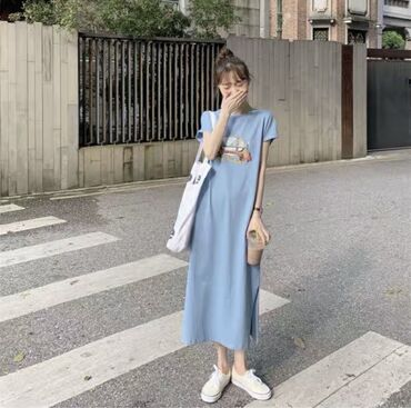 Хлопковое платье свободного кроя. 100% хлопок. Размер: стандарт (S-M)