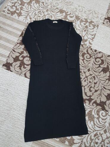 вязаное платье свободного кроя в Кыргызстан: Вязаное платье,турецкое на рукавах пайетки700сом