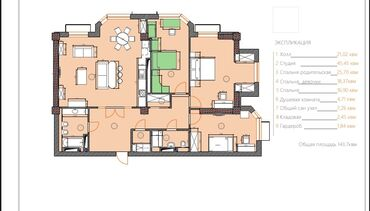 Продажа квартир - 4 комнаты - Бишкек: Продается квартира: Элитка, Магистраль, 4 комнаты, 141 кв. м