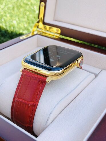 24K Gold Plated 44MM Apple Watch SERIES 5 Stainless Steel Red Band GPS