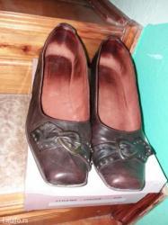 Braon kozne zenske cipele na malu stiklu 40