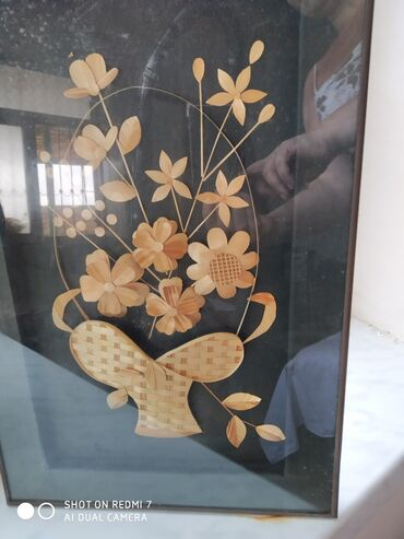 "Панно декоративное из соломки ""корзина с цветами"""