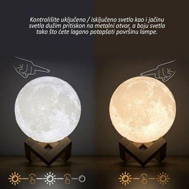 Kućni dekor - Subotica: Led lampa ovlazivac u obliku meseca može da svetli od mekog belog