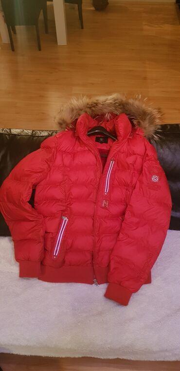 Muska krznena jakna - Srbija: Bogner muska jakna, 3XL, crvena, kapulja sa krznom i unutra