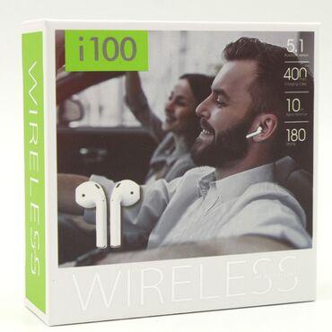 Беспроводные наушники WIRELESS i100 (Белый)   Беспроводные наушники -