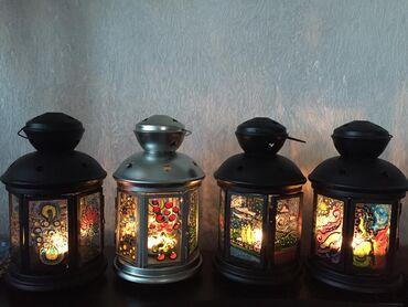 Освещение в Кыргызстан: Подсвечник, ночной фонарь, фонарик, ночник, ручная работа, витражная