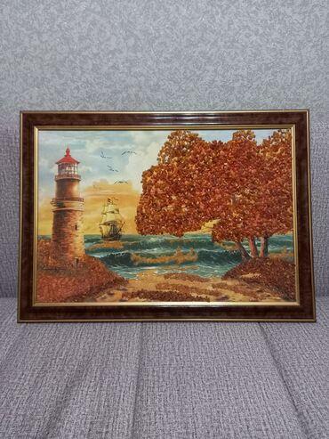 Продаётся красивая картина из натурального янтаря,размер 65×47см.рамка