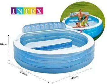 Klupe - Srbija: Porodični bazen sa klupom 224 x 216 x 76cmPorodični bazen na