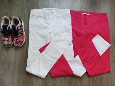 Bele sa farmerice - Srbija: Pantalone 2 para! Roze Terranova S veličina + TALLY WEIJL bele