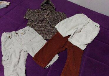 Tri pari somot postavljene pantalone za bebe i kosuljica - jaknica