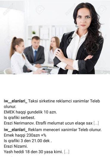 Bakı şəhərində Taksi xidmetine reklamci xanimlar teleb olunur emek haqqi 10 azn iw