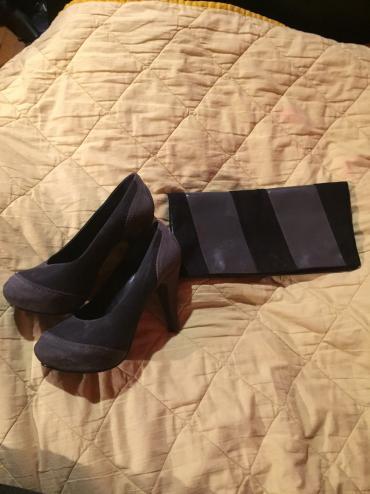 Bluza-sivo-teget - Srbija: Komplet sivo-crne cipele br.39 i pismo torbica u istoj boji