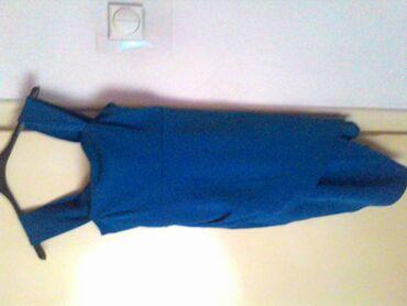 Plava haljina sirina u struku 38 duzina od ramena 82