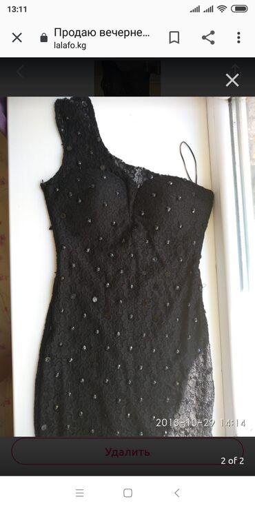 Продаю красивое чёрное платье на одно плечо размер М производства