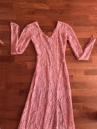 Dugacka do zemlje cipkasta haljina bebi roze boje, divna nova dobijena - Novi Sad