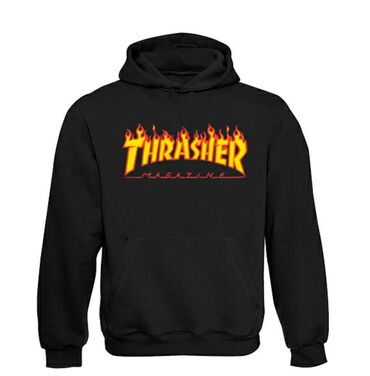 Thrasher Skateboard Magazine Classic Flame Logo Duks Velicine: S, M