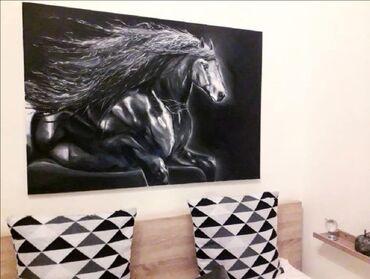 Πίνακας ζωγραφικής,μαυρο άλογο,ζωγραφισμένο με λαδομπογιες