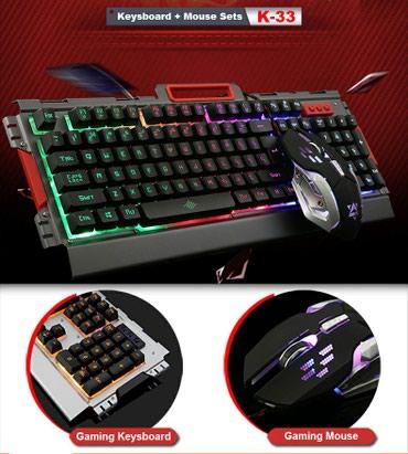 yemek desti - Azərbaycan: K33 model oyun ucun işiqli klaviatura ve sican desti ( gaming maus