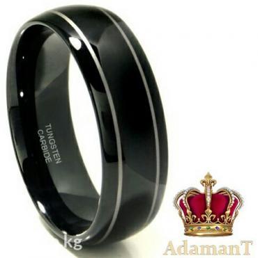 кольцо чёрное с двумя полосками кольцо сделано из вольфрама в Бишкек